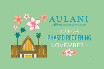 Aulani Resort Will Plan to Begin a Phased Reopening on November 1